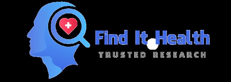 Find It Health Large Logo transparent Trusted Research tagline Blue color